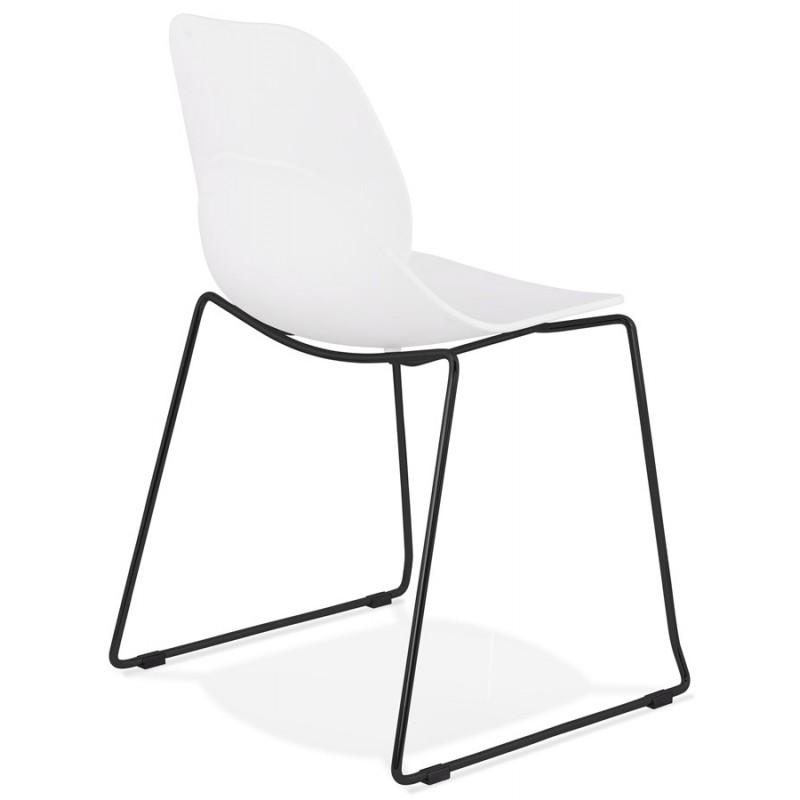 Chaise design empilable pieds métal noir MALAURY (blanc) - image 47854
