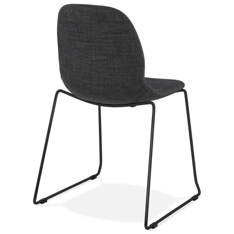Chaise design empilable en tissu pieds métal noir MANOU (gris foncé) - image 47872