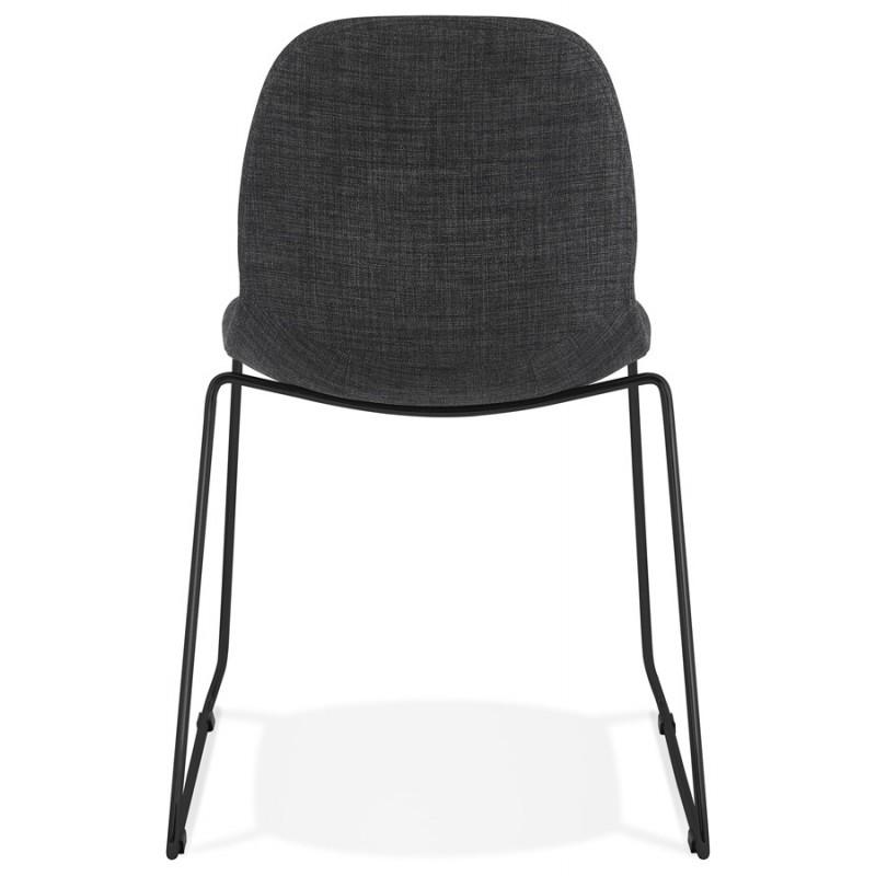 Chaise design empilable en tissu pieds métal noir MANOU (gris foncé) - image 47873