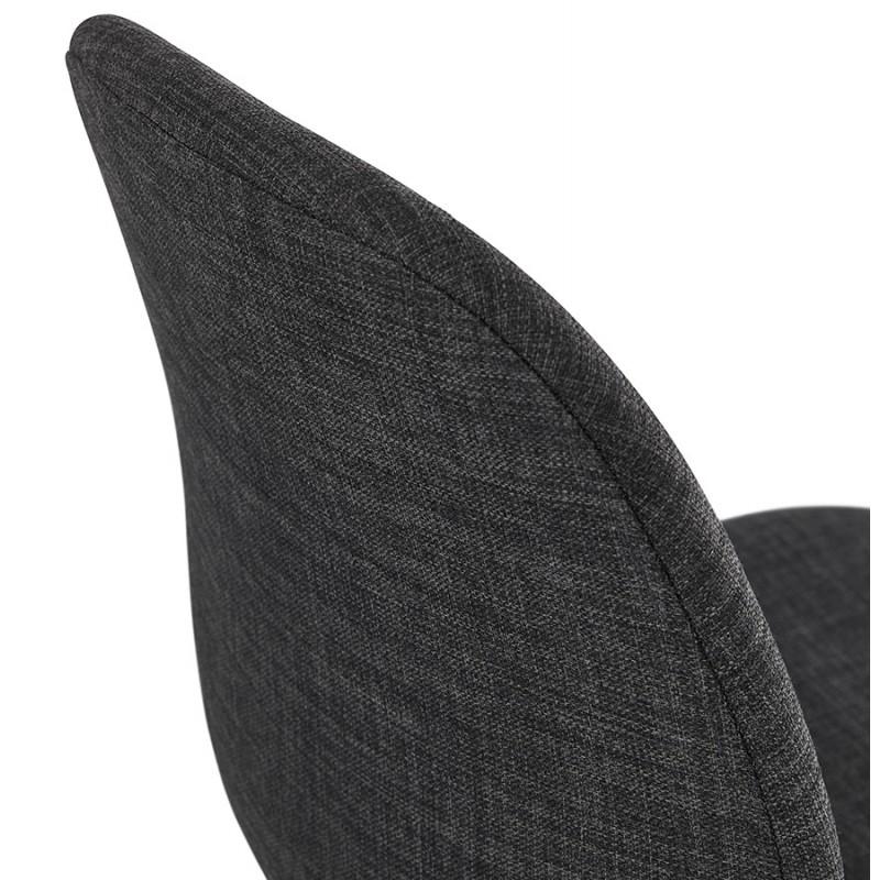 Chaise design empilable en tissu pieds métal noir MANOU (gris foncé) - image 47876