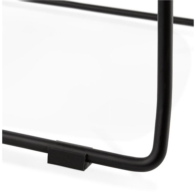 Chaise design empilable en tissu pieds métal noir MANOU (gris foncé) - image 47877