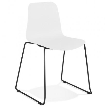 Chaise moderne empilable pieds métal noir ALIX (blanc)