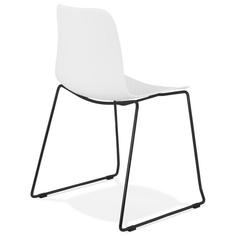 Chaise moderne empilable pieds métal noir ALIX (blanc) - image 47881