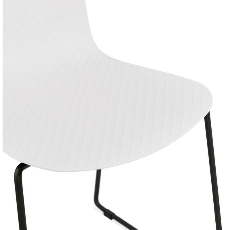 Chaise moderne empilable pieds métal noir ALIX (blanc) - image 47884