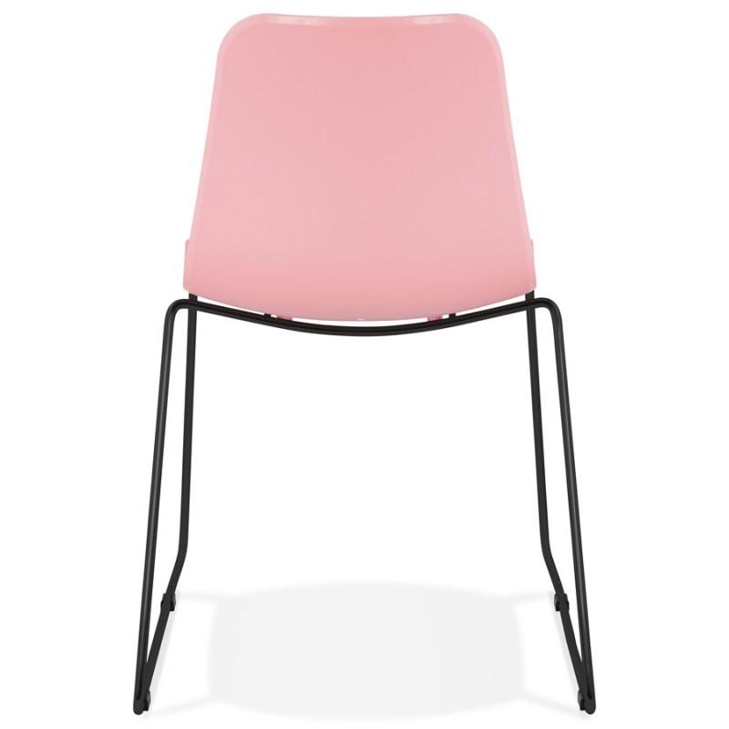 Chaise moderne empilable pieds métal noir ALIX (rose) - image 47891