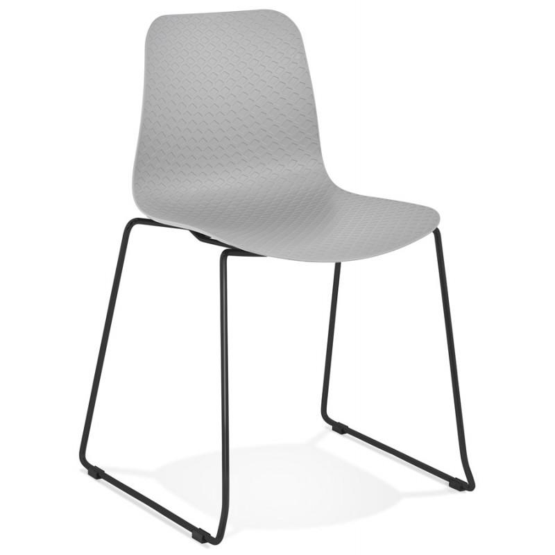 Chaise moderne empilable pieds métal noir ALIX (gris clair)