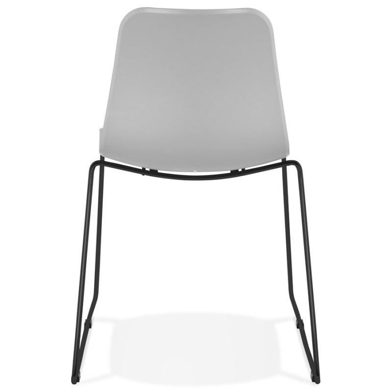 Chaise moderne empilable pieds métal noir ALIX (gris clair) - image 47900