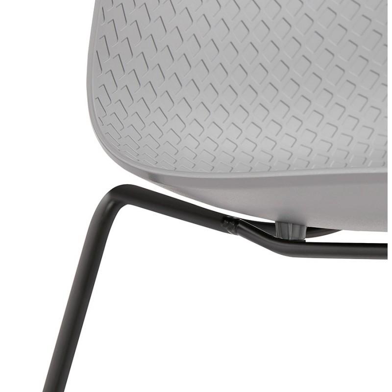 Chaise moderne empilable pieds métal noir ALIX (gris clair) - image 47903