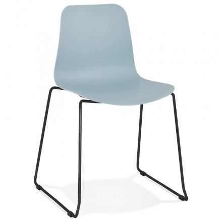 Chaise moderne empilable pieds métal noir ALIX (bleu ciel)