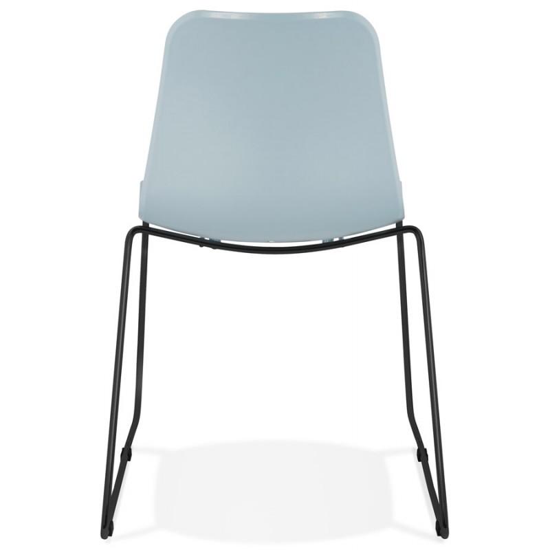 Chaise moderne empilable pieds métal noir ALIX (bleu ciel) - image 47909