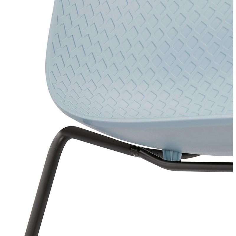 Chaise moderne empilable pieds métal noir ALIX (bleu ciel) - image 47912