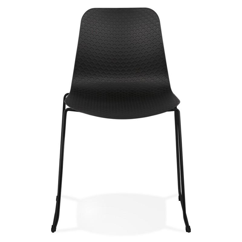 Chaise moderne empilable pieds métal noir ALIX (noir) - image 47915