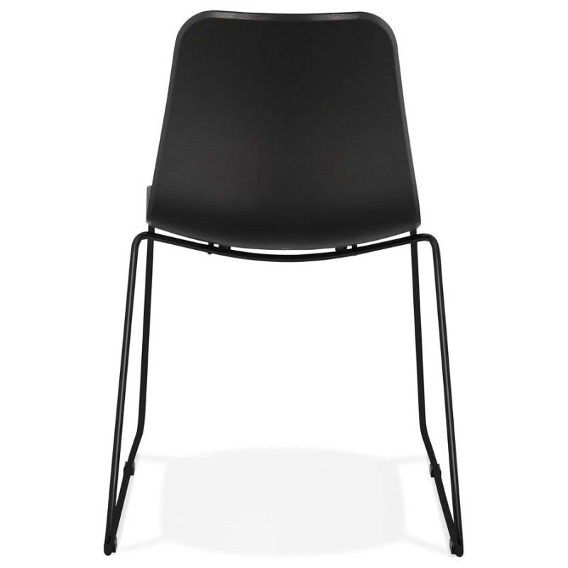 Chaise moderne empilable pieds métal noir ALIX (noir) - image 47918