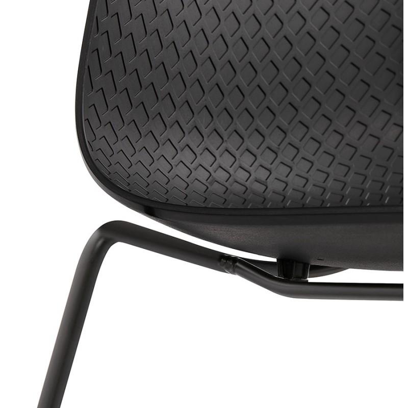 Chaise moderne empilable pieds métal noir ALIX (noir) - image 47921