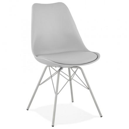 Chaise design style industriel SANDRO (gris clair)