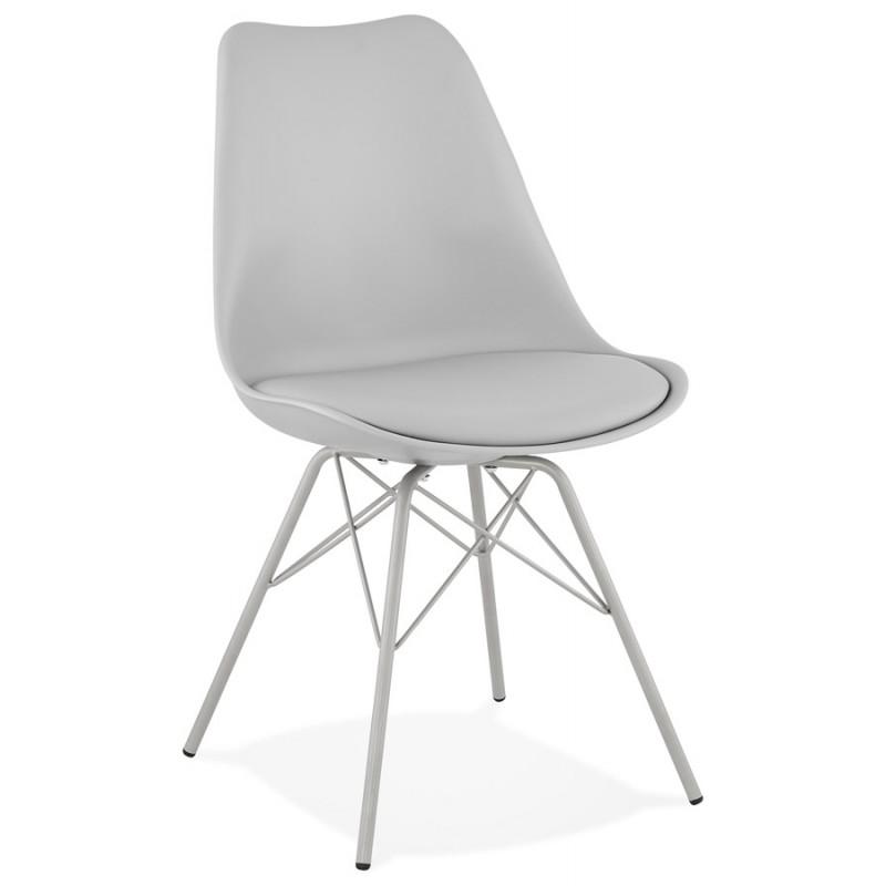 Chaise design style industriel SANDRO (gris clair) - image 47923