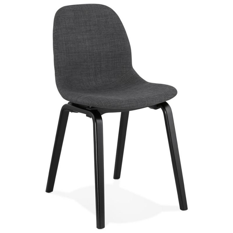 Chaise design et contemporaine en tissu pieds bois noir MARTINA (gris anthracite)