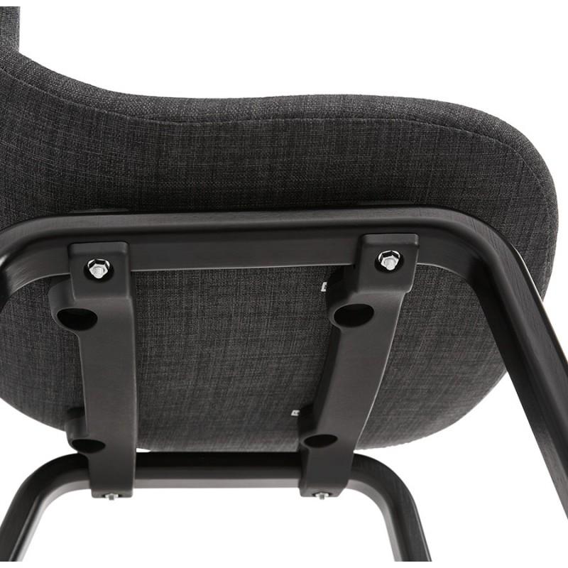 Chaise design et contemporaine en tissu pieds bois noir MARTINA (gris anthracite) - image 47945