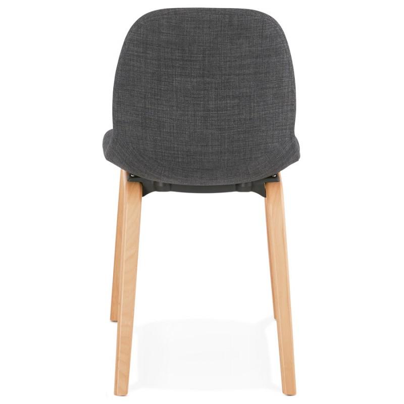 Chaise design et scandinave en tissu pied bois finition naturelle MARTINA (gris anthracite) - image 47953
