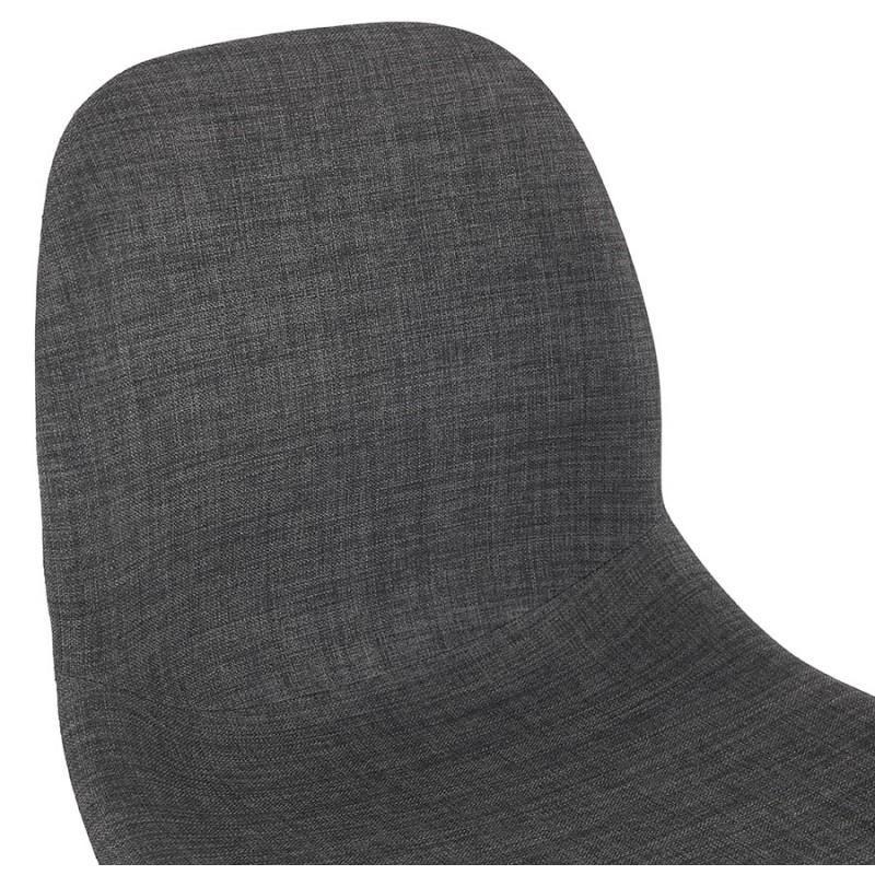 Chaise design et scandinave en tissu pied bois finition naturelle MARTINA (gris anthracite) - image 47954