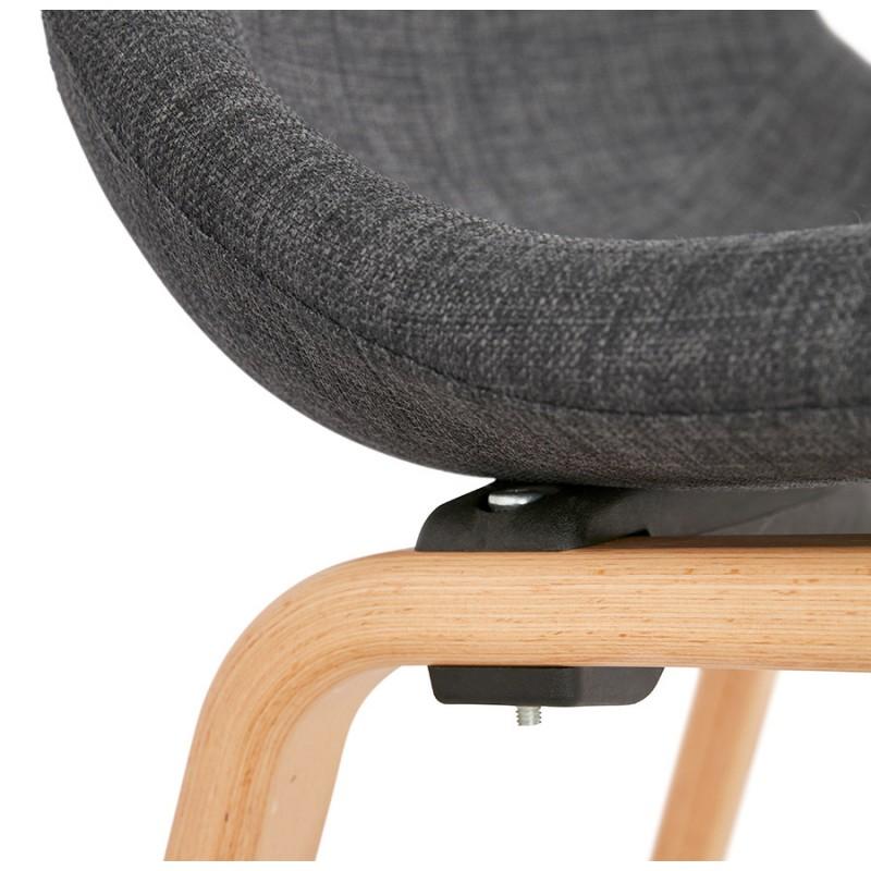 Chaise design et scandinave en tissu pied bois finition naturelle MARTINA (gris anthracite) - image 47958