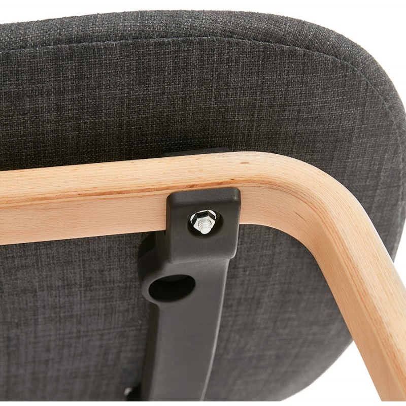 Chaise design et scandinave en tissu pied bois finition naturelle MARTINA (gris anthracite) - image 47960