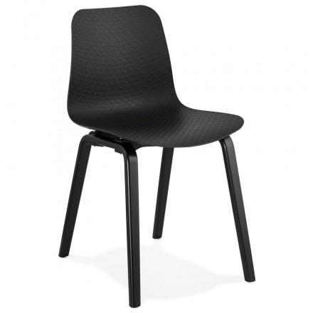 Silla de diseño de pie de madera negra sandy (negro)