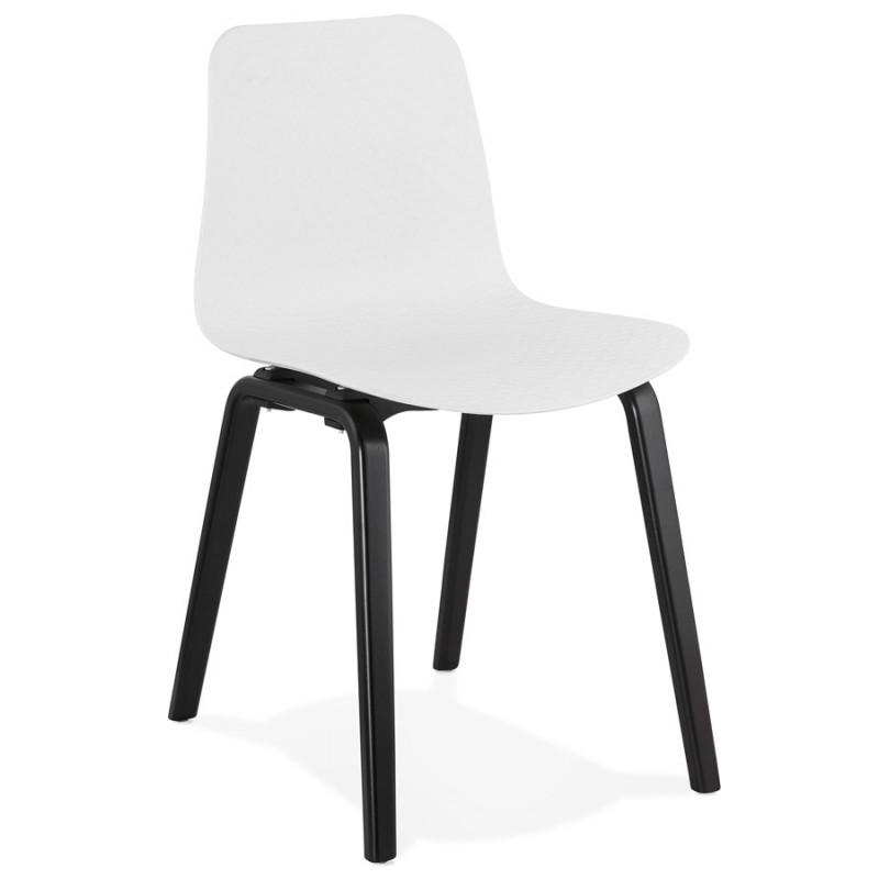 Silla de diseño de pie de madera negra sandy (blanco)