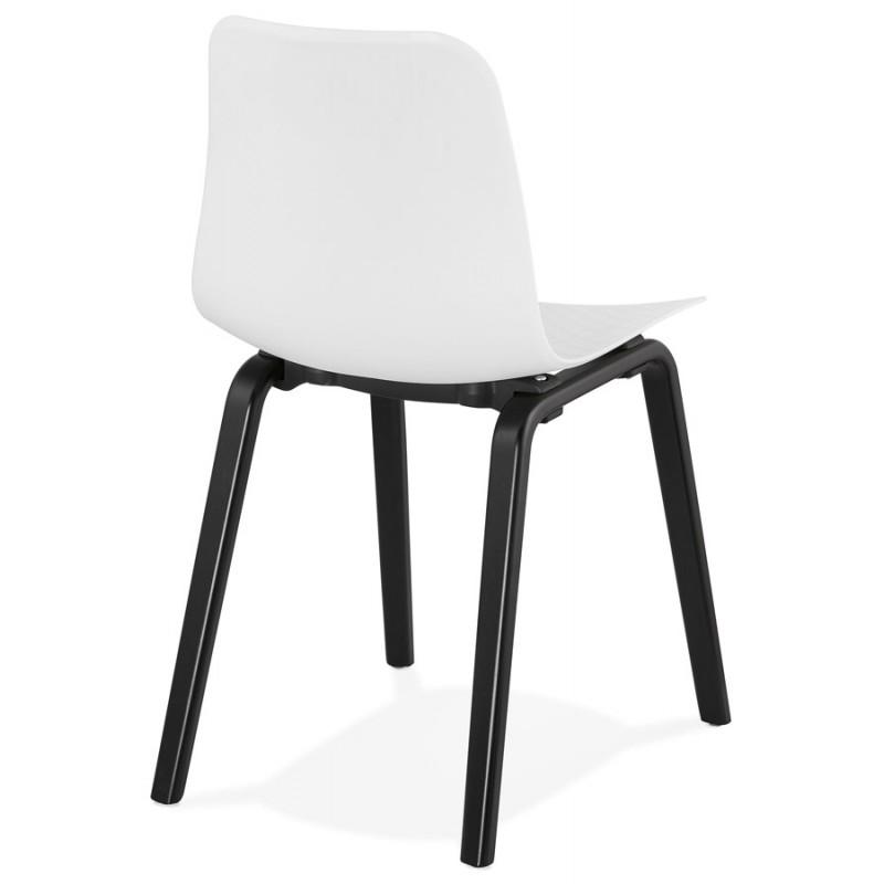 Chaise design pieds bois noir SANDY (blanc) - image 47982