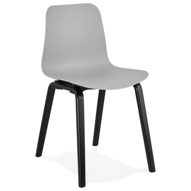 Chaise design pieds bois noir SANDY (gris clair) - image 47994