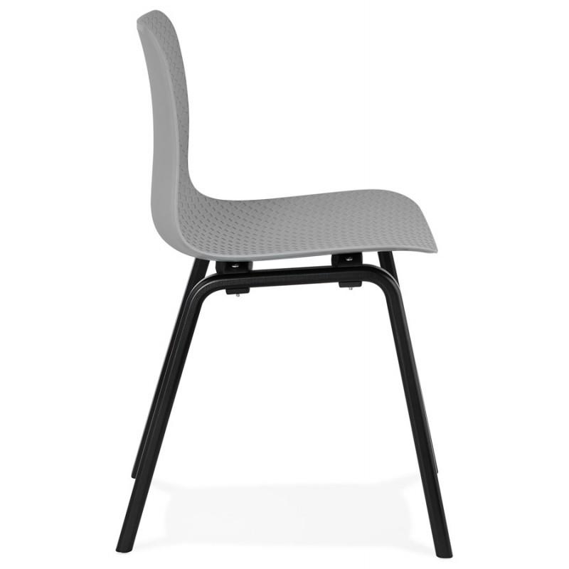 Chaise design pieds bois noir SANDY (gris clair) - image 47996