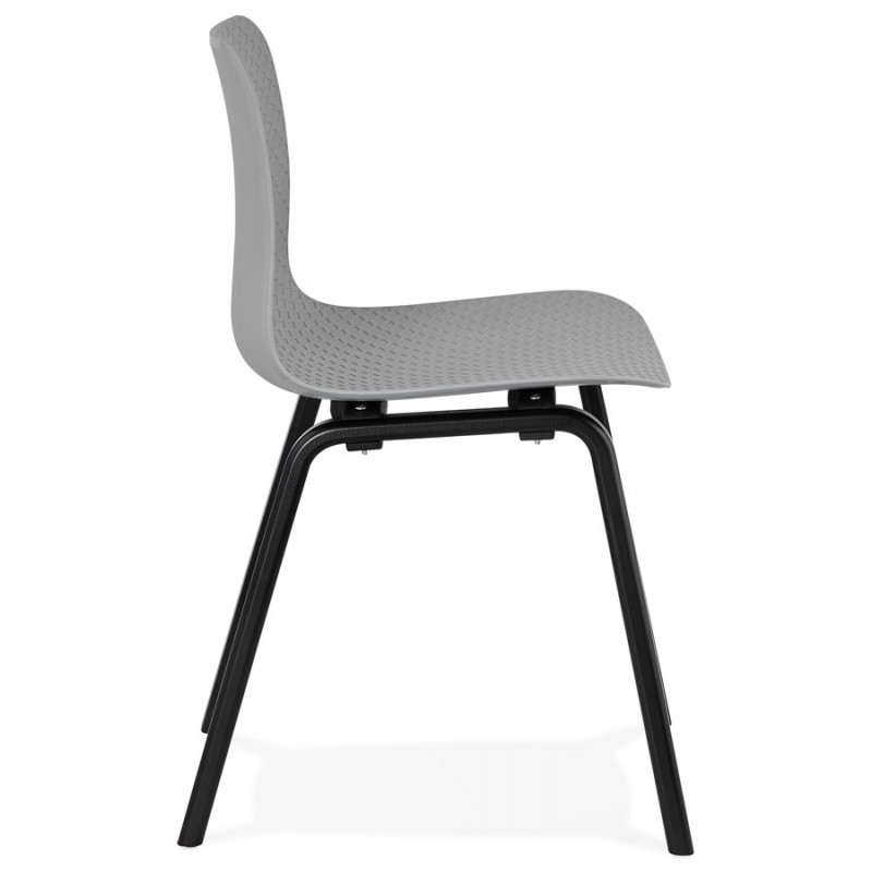 Silla de diseño de pie de madera negra sandy (gris claro) - image 47996