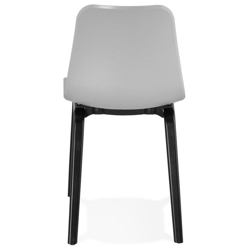 Chaise design pieds bois noir SANDY (gris clair) - image 47998