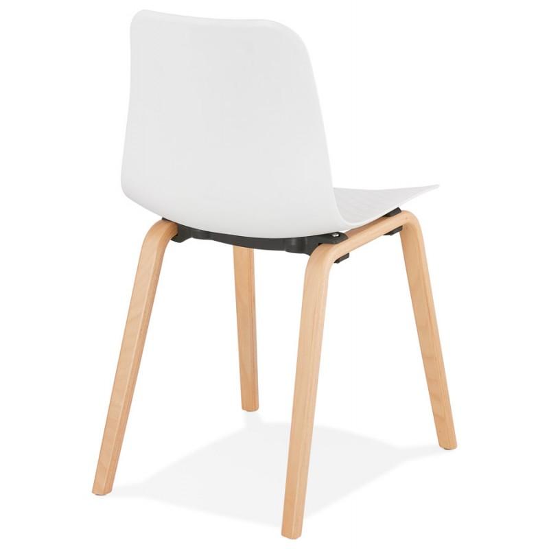 Chaise design scandinave pied bois finition naturelle SANDY (blanc) - image 48012