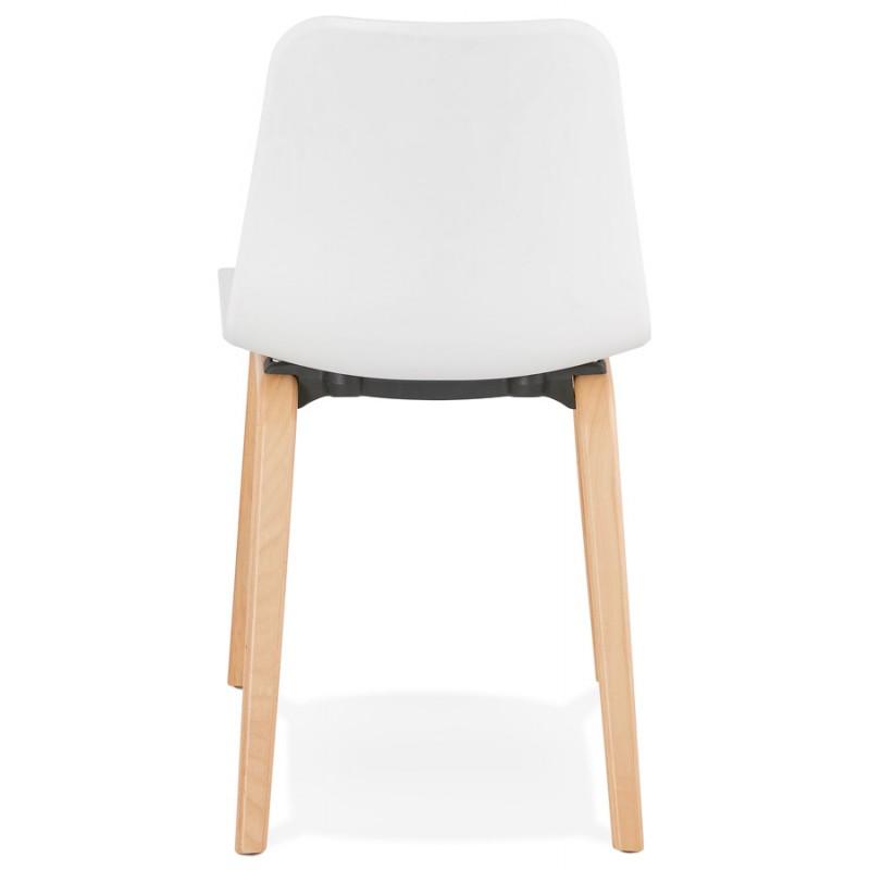 Chaise design scandinave pied bois finition naturelle SANDY (blanc) - image 48013