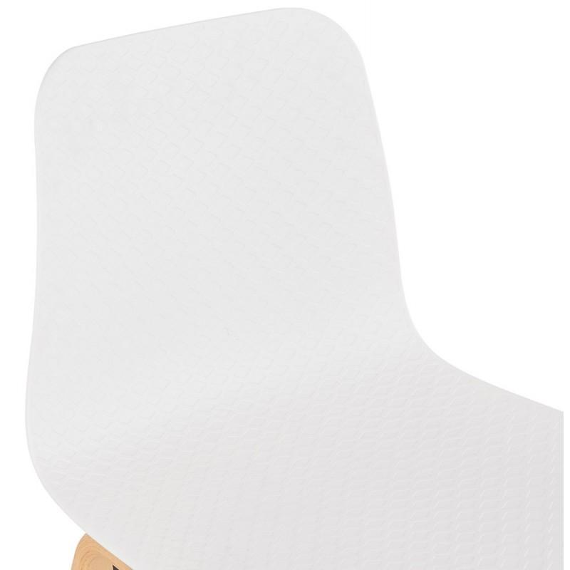 Chaise design scandinave pied bois finition naturelle SANDY (blanc) - image 48014