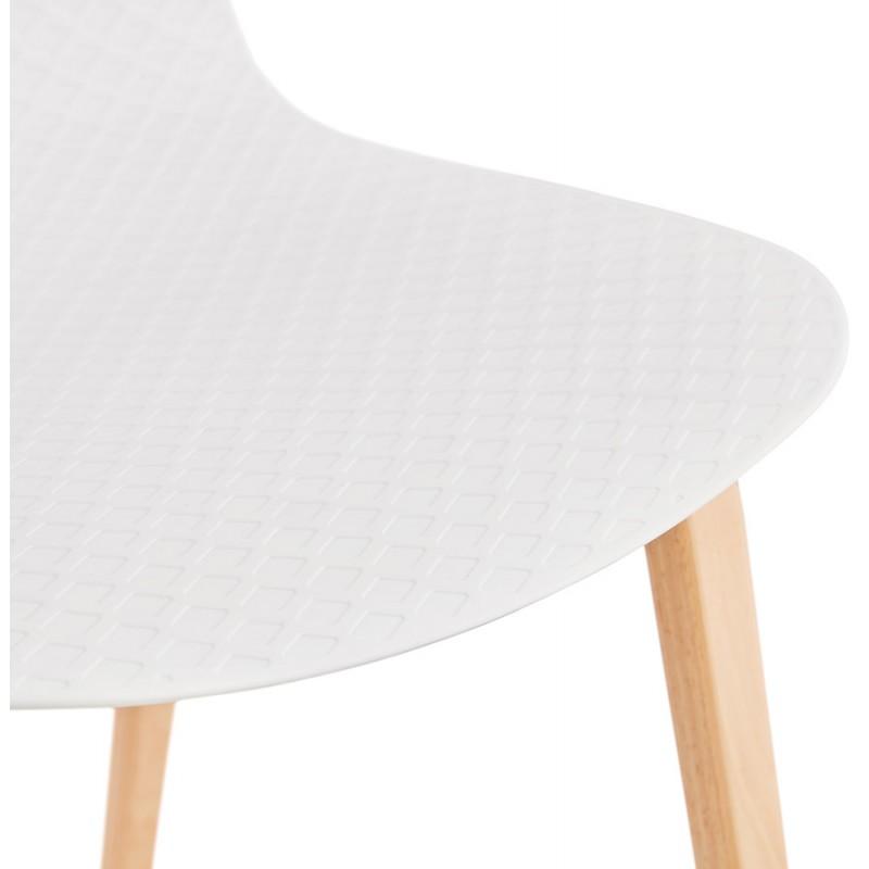 Chaise design scandinave pied bois finition naturelle SANDY (blanc) - image 48016