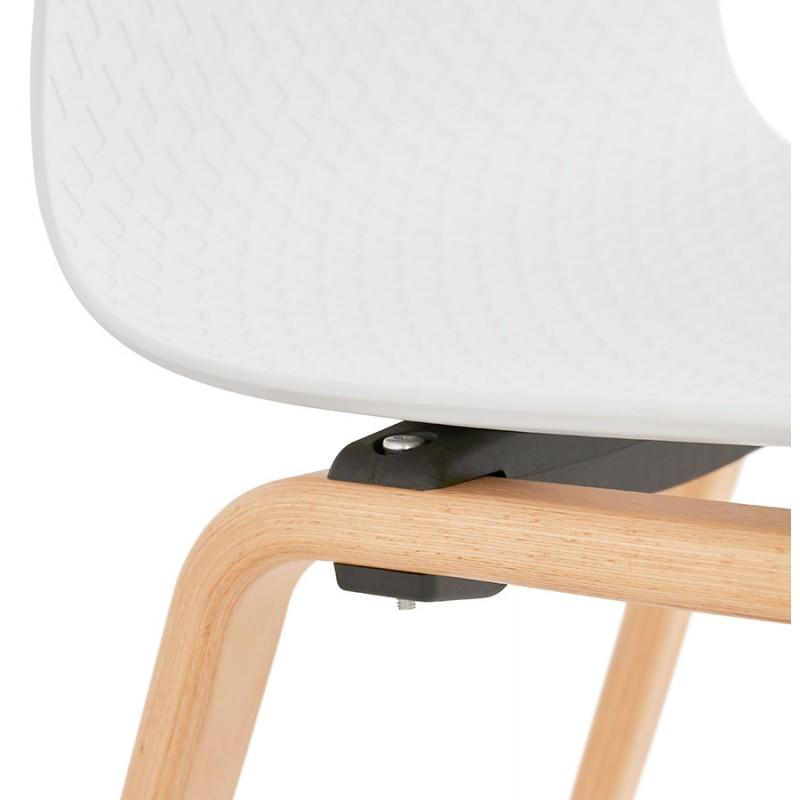 Chaise design scandinave pied bois finition naturelle SANDY (blanc) - image 48018