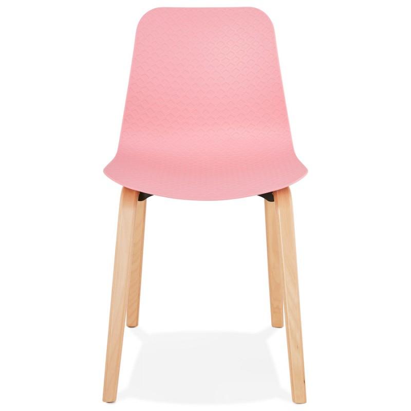 Chaise design scandinave pied bois finition naturelle SANDY (rose) - image 48024