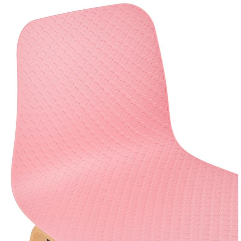 Chaise design scandinave pied bois finition naturelle SANDY (rose) - image 48028