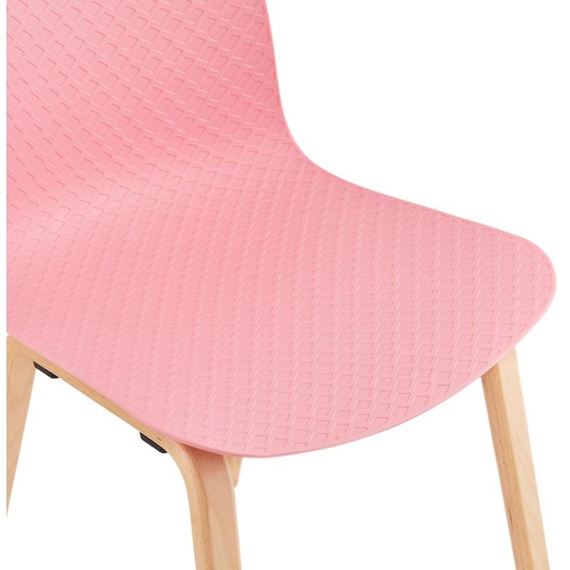Chaise design scandinave pied bois finition naturelle SANDY (rose) - image 48029