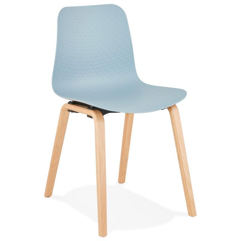 Chaise design scandinave pied bois finition naturelle SANDY (bleu ciel) - image 48038