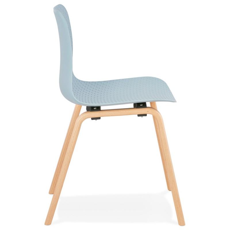 Chaise design scandinave pied bois finition naturelle SANDY (bleu ciel) - image 48040