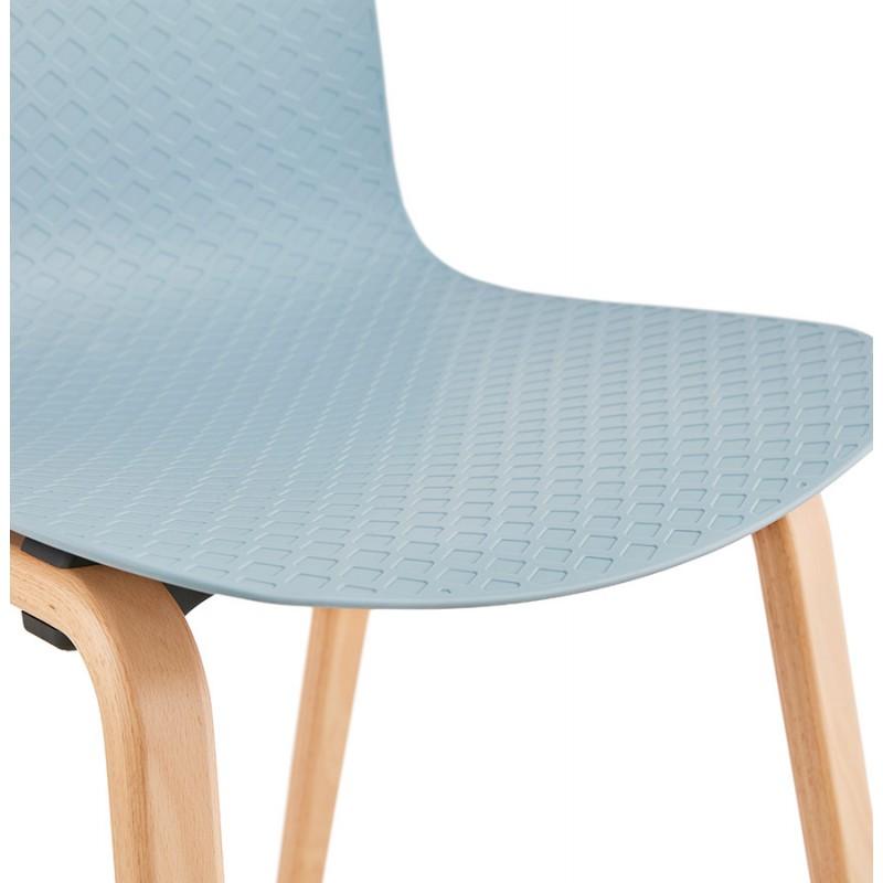 Chaise design scandinave pied bois finition naturelle SANDY (bleu ciel) - image 48045