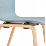 Silla de diseño escandinavo pie madera acabado natural SANDY (azul cielo)