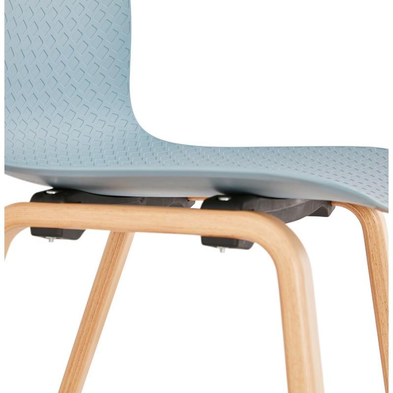 Chaise design scandinave pied bois finition naturelle SANDY (bleu ciel) - image 48046