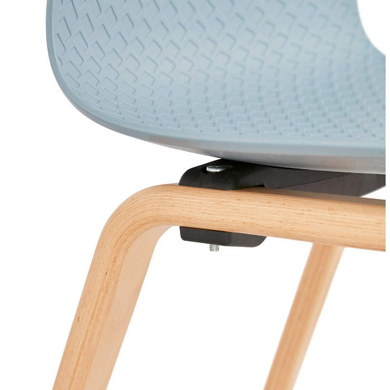 Chaise design scandinave pied bois finition naturelle SANDY (bleu ciel) - image 48047