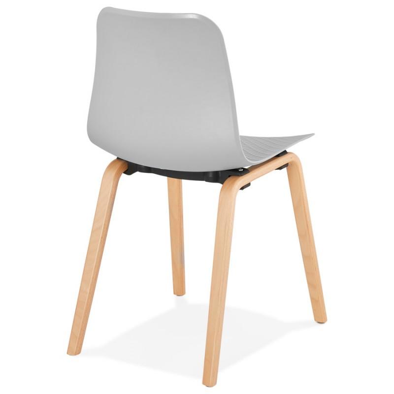 Stuhl Design skandinavischen Fuß Holz natürliche Oberfläche SANDY (hellgrau) - image 48056