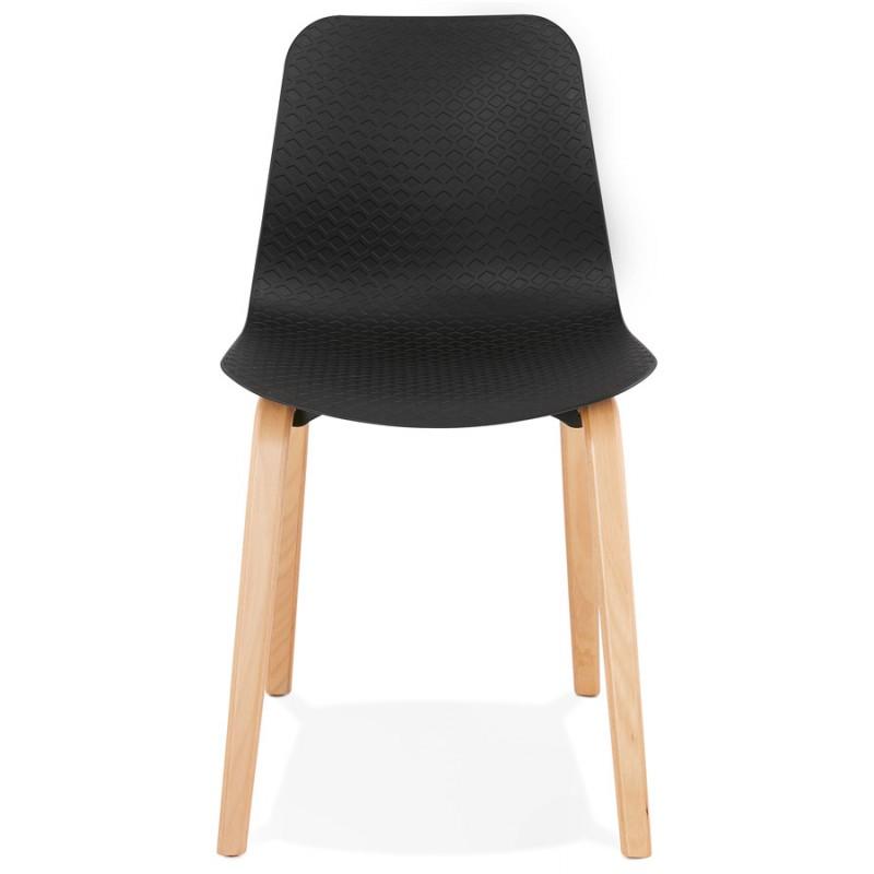 Silla de diseño escandinavo pie de madera acabado natural SANDY (negro) - image 48069