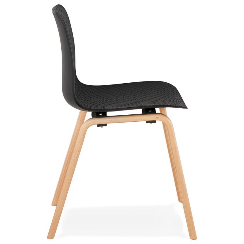 Silla de diseño escandinavo pie de madera acabado natural SANDY (negro) - image 48070
